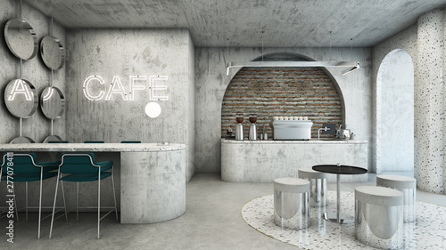Cafe shop modern & Minimal design,Counter concrete waiting
