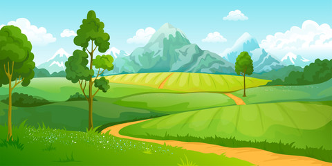 Foto auf Acrylglas Lime grun Summer mountains landscape. Cartoon nature green hills scene with blue sky trees and clouds. Vector illustration rural countryside eco perspective background with road