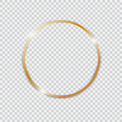 Gold shiny glowing vintage round frame.