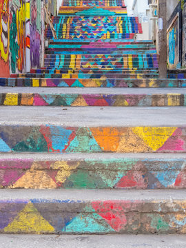 View of the famous Mar Mikhael painted stairs in Beirut, Lebanon