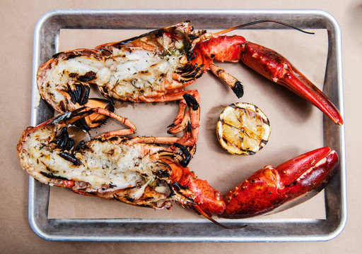 Close up of lobsters served with grilled lemon