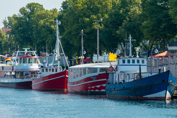 colourful motor ships at Warnemuende harbour