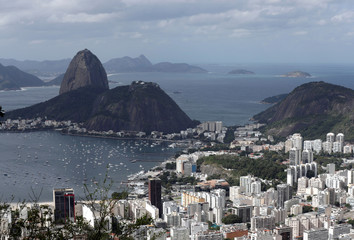 A general view shows buildings as the Sugar Loaf Mountain is seen in the background in Rio de Janeiro