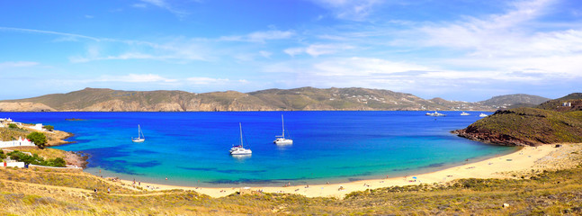 panoramic view of Fokos beach, north of Mykonos, Cyclades island in the heart of the Aegean Sea