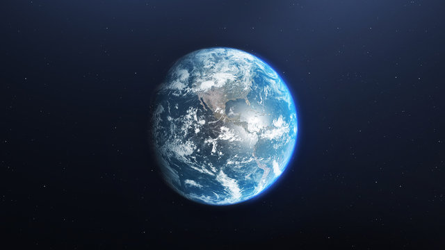 Earth from space , 3d render of planet Earth, elements of this image provided by NASA