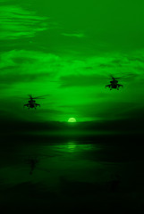 Poster Helicopter Combat helicopter against the moonlit sky, the view through a night vision device