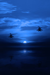 Combat helicopter against the moonlit sky. night operation
