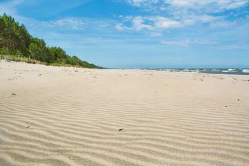 piach na plaży, piękny krajobraz, Polska