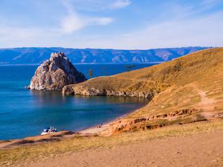 Shamanka Rock, Cape Burkhan, Olkhon Island, Lake Baikal, Siberia, Russia