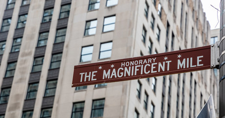 Wall Mural - Chicago city The magnificent mile sign, blur skyscrapers background