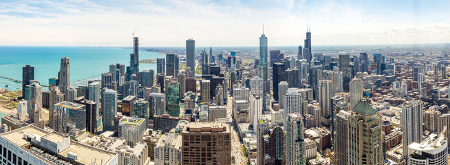 Chicago city skyscrapers panorama, blue sky background. Skydeck observation Fototapete