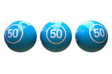 Bingo ball - blue color,  50 bingo ball