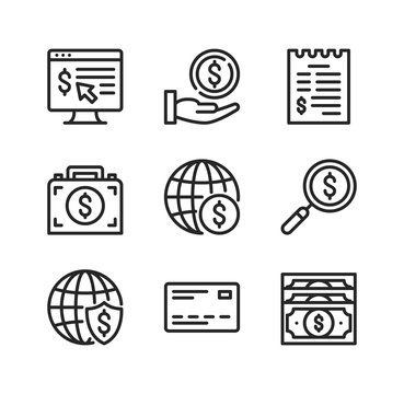 Global business vector line icons. International business concepts. Simple outline symbols, modern linear graphic elements collection. Line icons set