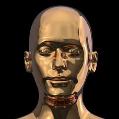 3d illustration of head shot portrait of single iron man face golden