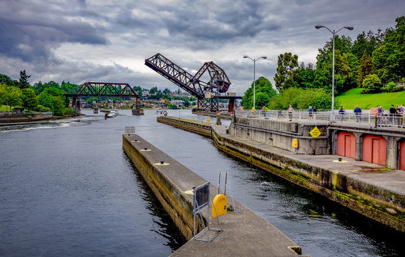 Open Drawbridge at the Locks