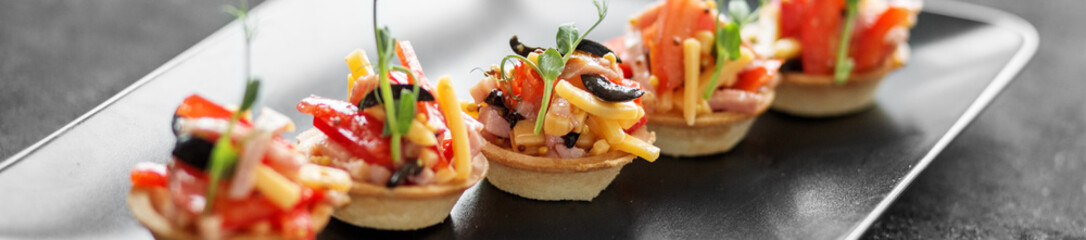 Delicious salad in tartlets. Concept of food, restaurant, cateri Wall mural