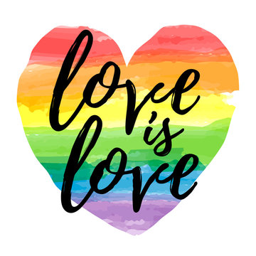 Love is Love lettering on watercolor rainbow spectrum heart shape. Homosexuality emblem isolated on white. LGBT rights concept. Modern parades poster, placard, invitation card, t-shirt  print design.
