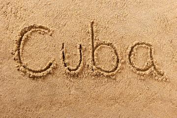 Cuba handwritten beach sand message