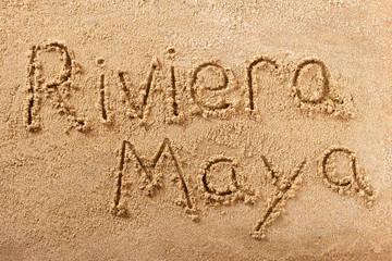 Riviera Maya handwritten beach sand message