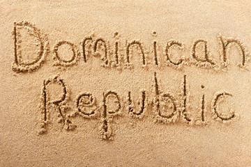 Dominican Republic handwritten beach sand message