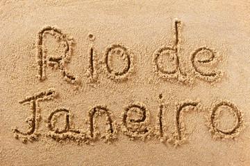 Rio de Janeiro handwritten beach sand message