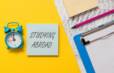 Word writing text Studying Abroad. Business photo showcasing learn outside of home in foreign...