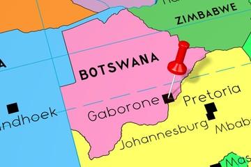 Botswana, Gaborone - capital city, pinned on political map