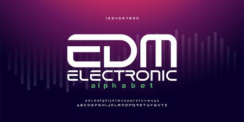 digital music modern alphabet fonts. Typography edm electronic dance music future creative font design concept. vector illustraion
