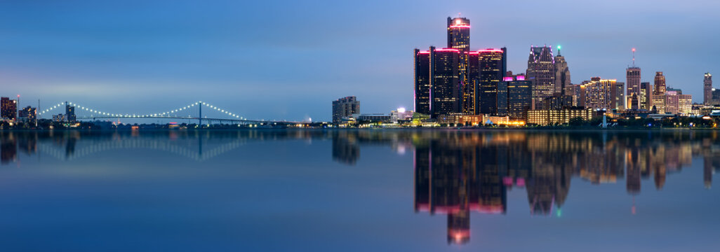 Detroit, Michigan skyline at night shot from Windsor, Ontario, USA