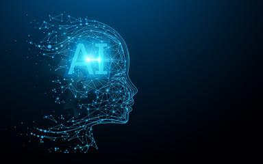 AI - Artificial intelligence. Ai digital brain. Robotics concept. Human face made from polygon. Illustration vector