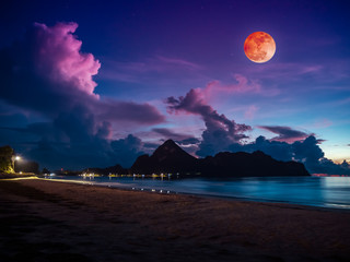 Wall Mural - Colorful blue sky with cloud and bright full moon on seascape to night.