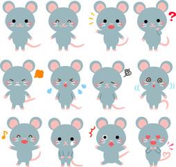 ネズミのいろいろなポーズのイラストセット