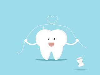 tooth and dental floss cartoon vector illustration