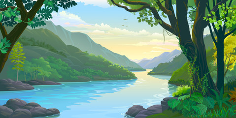 Foto auf Leinwand Pool Natural window view of the river flowing calmly across dense green tropic forest