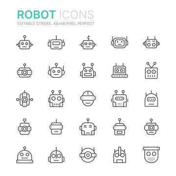 Collection of robots line icons. 48x48 Pixel Perfect. Editable stroke