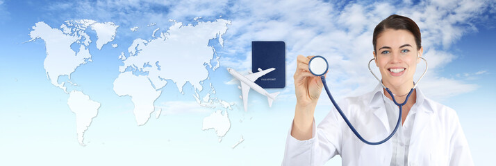 international travel medical insurance concept, smile doctor woman showing,stethoscope, airplane, passport on blue sky with map background