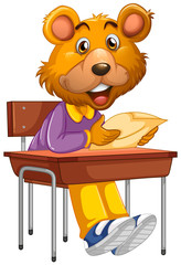 Papiers peints Jeunes enfants bear sitting in school desk