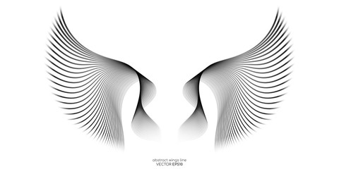 Abstract symmetry wings line blue green colors isolated on black background. Vector illustration in concept of freedom.