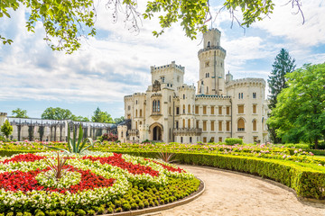 View at the Garden and Castle of Hluboka in Czech Republic