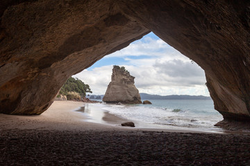 View of Te Hoho Rock, Cathedral Cove. Cathedral Cove and Te Hoho Rock are a number one tourist attraction in New Zealand in the Hahei Region.