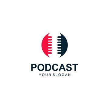 podcast logo template design vector