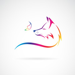 Vector of fox head and butterfly on white background. Wild Animals. Easy editable layered vector illustration.