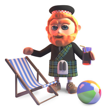 Holidaying Scottish man in kilt with deckchair and drink, 3d illustration