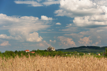 ancient and original castles against the background of a dramatic sky