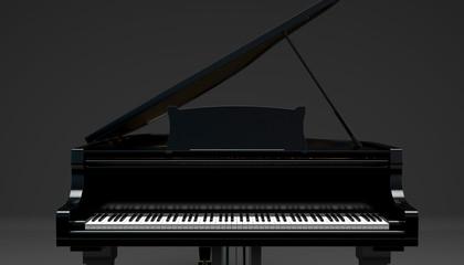 black gard piano on a dark background, 3d illustration