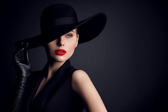 Woman Beauty in Hat, Elegant Fashion Model Retro Style Portrait on Black
