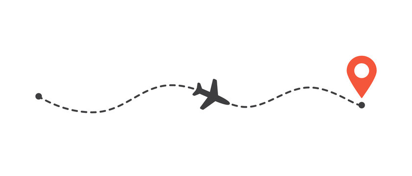 Airplane flight path to location mark. Plane route line. Tourism and travel illustration