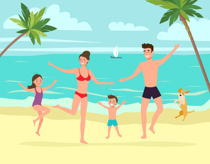 Mother and father with children and dog  jumps. Tropical landscape with palm trees, ocean.Vector flat style illustration