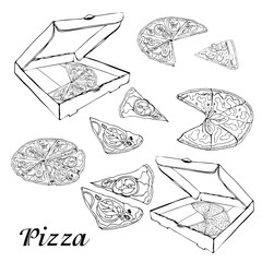 Set of type of pizza. Hand drawn ink sketch. Pepperoni, Margarita,  Mushroom.  Perfect for leaflets, cards, posters, prints, menu, booklets.