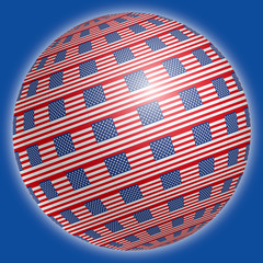 United States flags on the spherical globe, illustration, USA